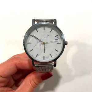 Marble Silver Mesh Watch